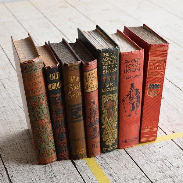 イギリス アンティーク ブック 本 洋書 7冊セット ディスプレイ 8295