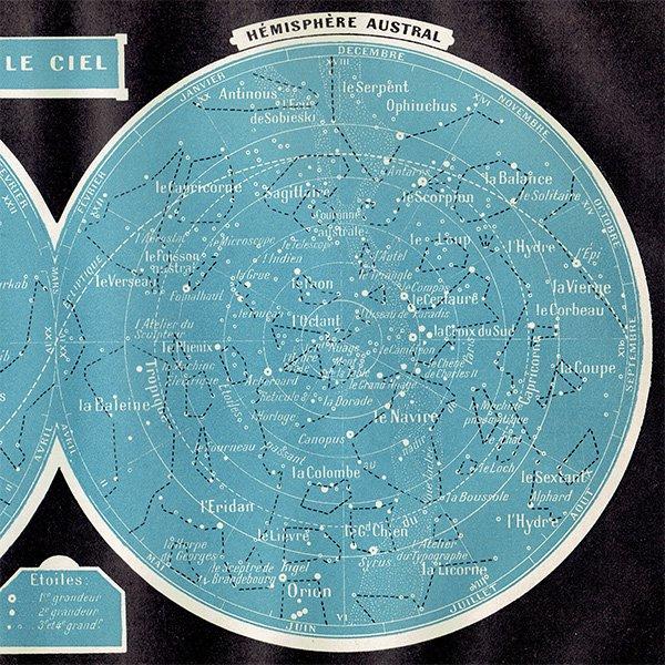 【天文学】アンティーク星座マップ 星座・天の川 0039