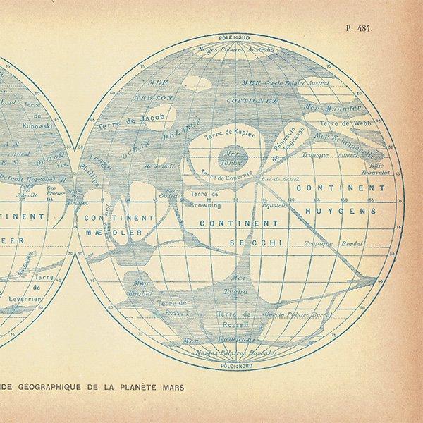 【天文学】火星(MARS)のアンティークプリント 0040