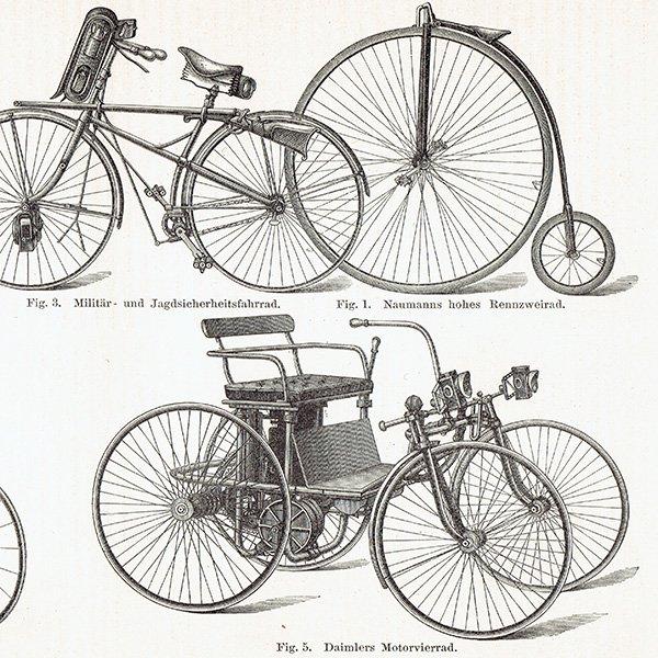 古い自転車のアンティークプリント 0016