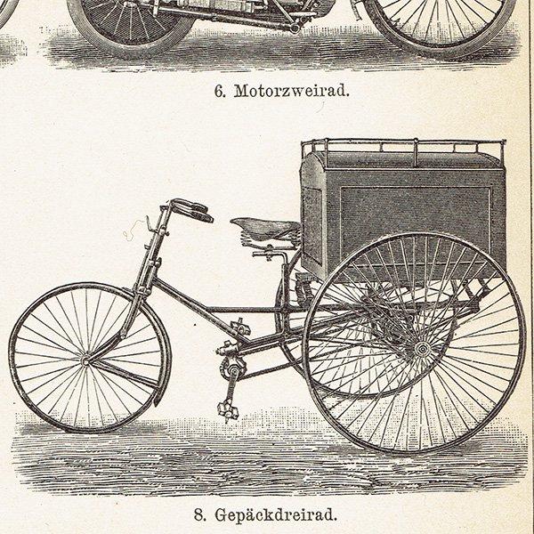 古い自転車と古いバイクのアンティークプリント 0017
