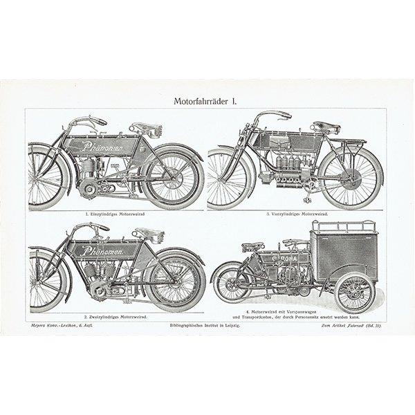 古いバイク(モーターサイクル・オートバイ)のアンティークプリント 0018