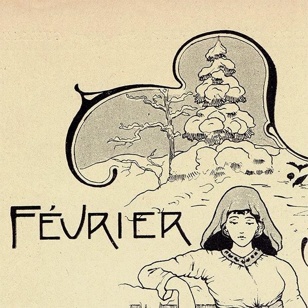 フランス アンティーク聖人暦 カレンダー(2月)049