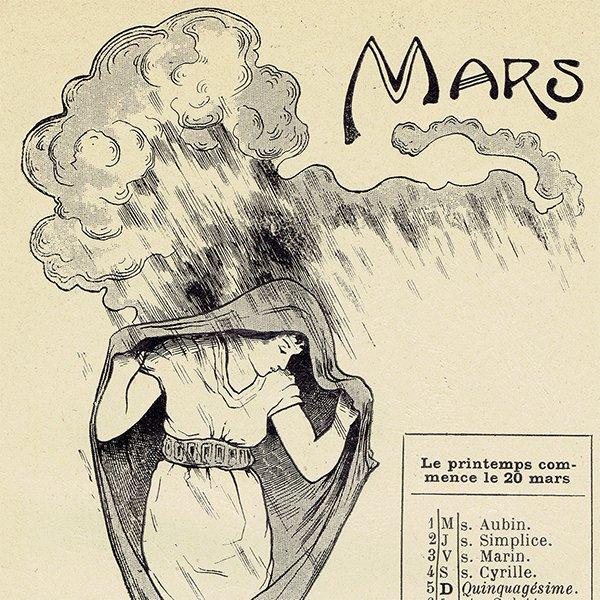 フランス アンティーク聖人暦 カレンダー(3月)050