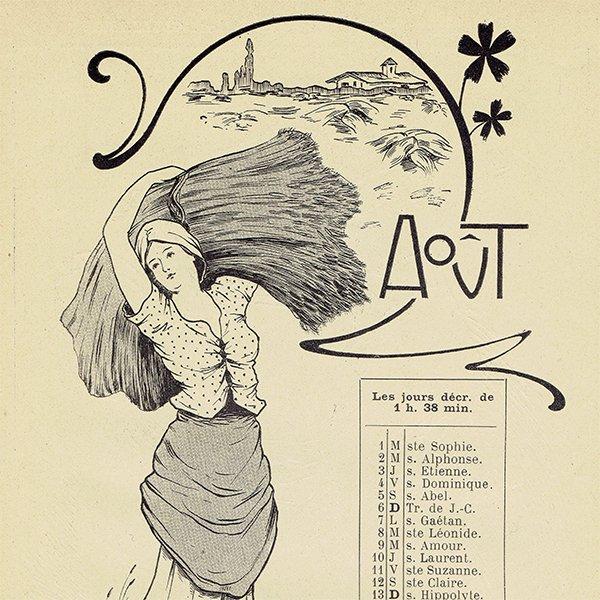 フランス アンティーク聖人暦 カレンダー(8月)055