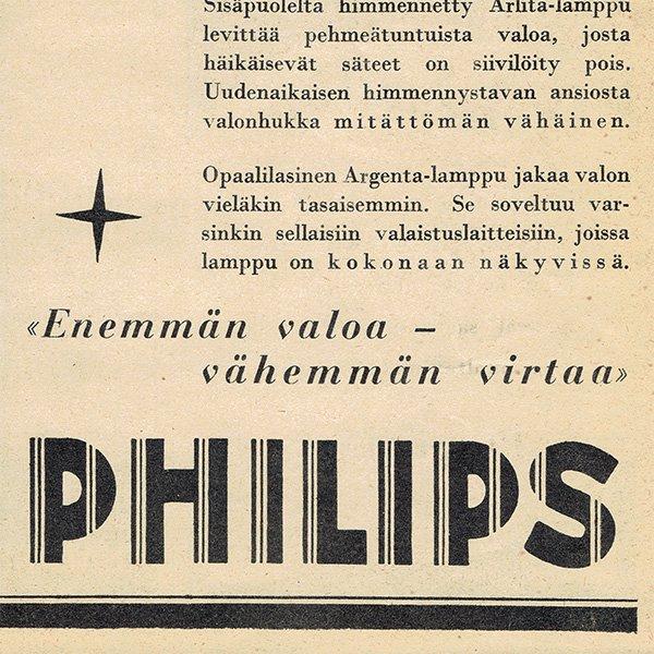 フィンランドのヴィンテージ雑誌「KOTILIESI」より PHILIPS広告  0087