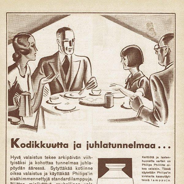 フィンランドのヴィンテージ雑誌「KOTILIESI」より PHILIPS広告  0104
