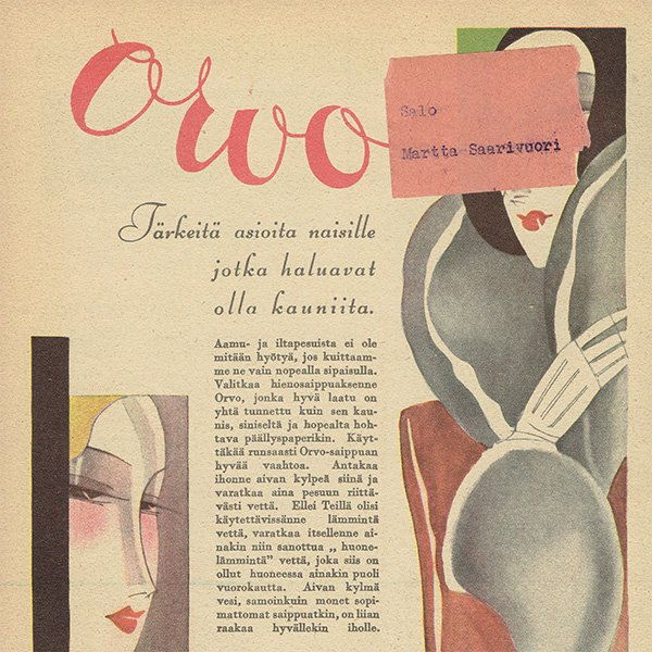 フィンランドのヴィンテージ雑誌「KOTILIESI」よりORVO広告  0106