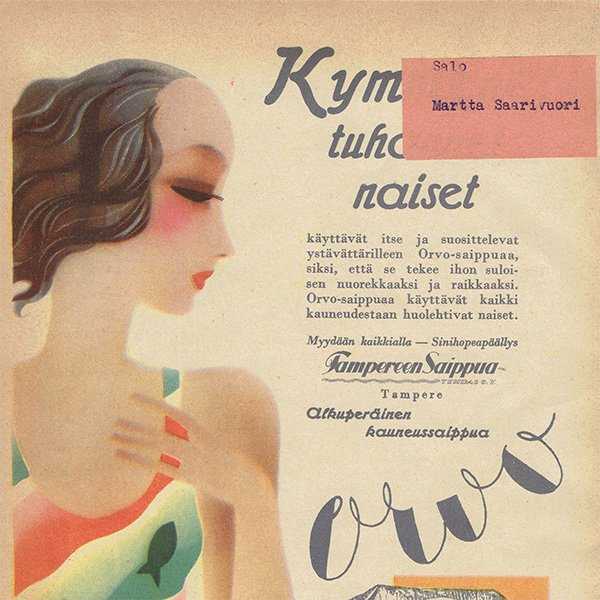 フィンランドのヴィンテージ雑誌「KOTILIESI」よりORVO広告  0107