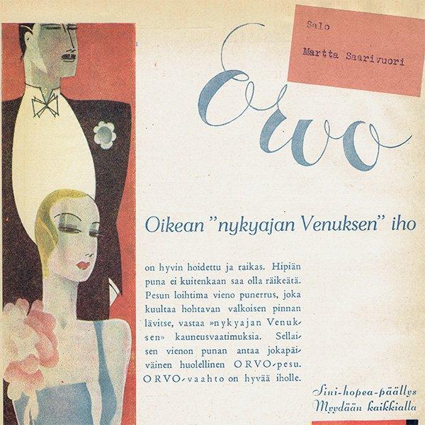 フィンランドのヴィンテージ雑誌「KOTILIESI」よりORVO広告  0108