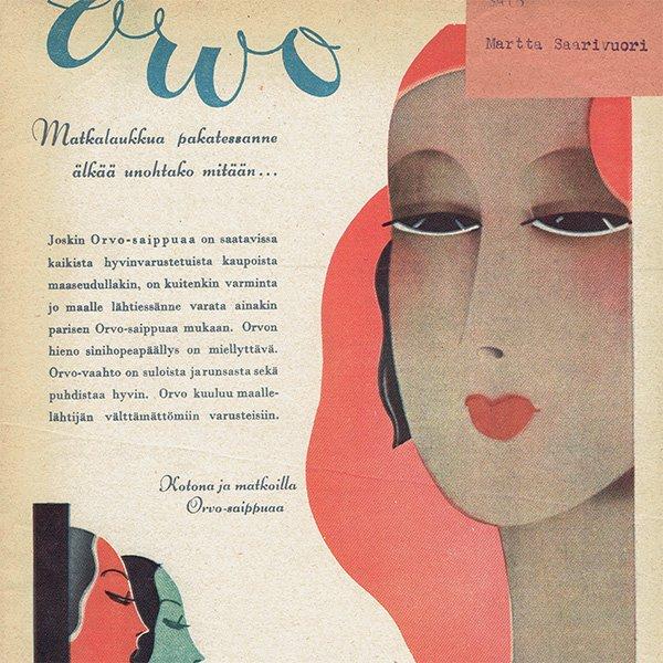 フィンランドのヴィンテージ雑誌「KOTILIESI」よりORVO広告  0110