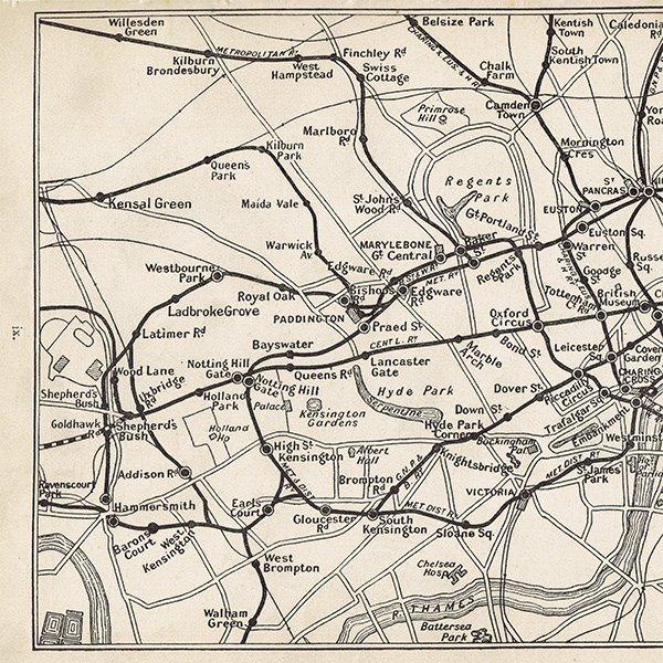 ロンドン アンティーク電車マップ 地図009