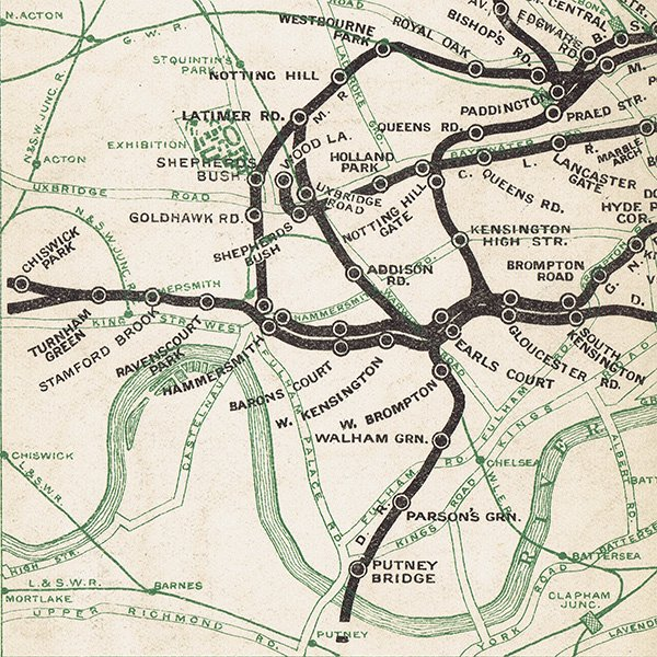 ロンドン チューブ(地下鉄)アンティークマップ 地図012