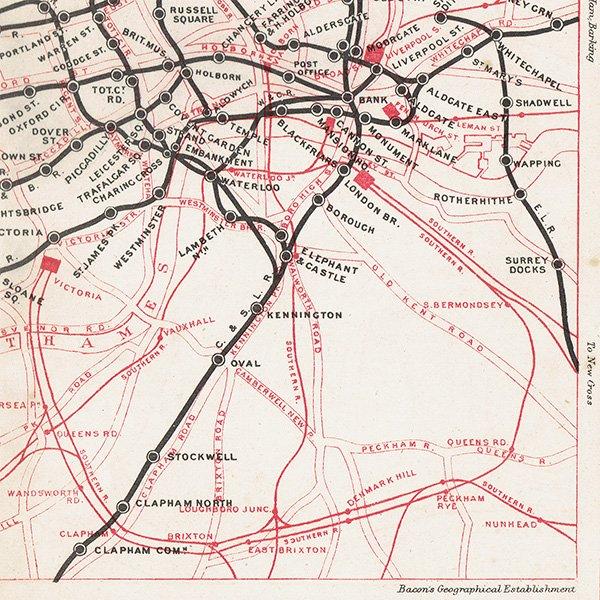 ロンドン アンダーグラウンド(地下鉄)アンティークマップ 地図013