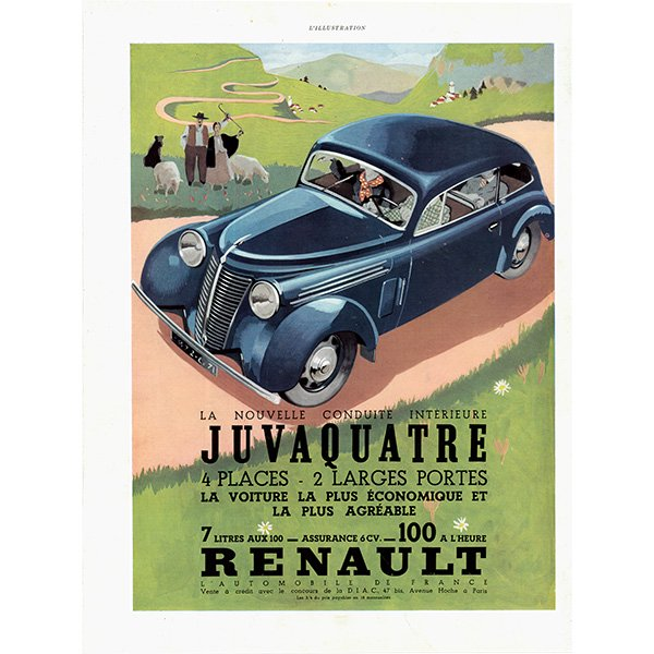 RENAULT(ルノー)クラシックカーのヴィンテージ広告 0026<img class='new_mark_img2' src='https://img.shop-pro.jp/img/new/icons5.gif' style='border:none;display:inline;margin:0px;padding:0px;width:auto;' />