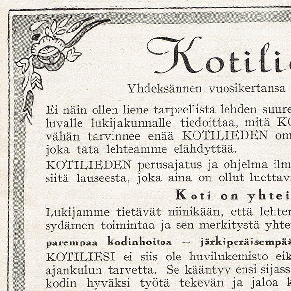 フィンランドのヴィンテージ雑誌「KOTILIESI」より表紙ページ  0120