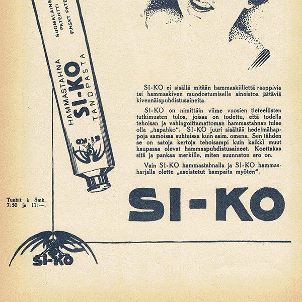 フィンランドのヴィンテージ雑誌「KOTILIESI」より歯磨き粉(SI-KO)広告  0121
