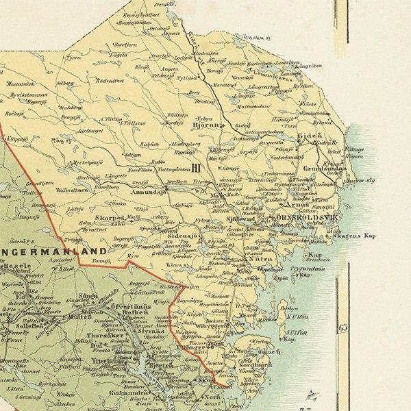 スウェーデンのアンティークマップ(古地図)ヴェステルノールランド 018