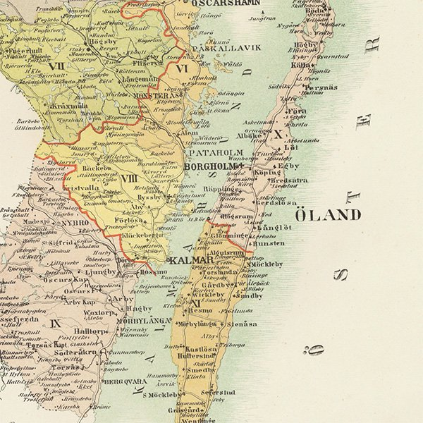 スウェーデンのアンティークマップ(古地図)カルマル(Kalmar län)019
