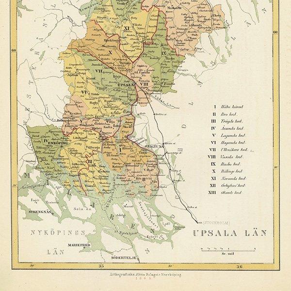 スウェーデンのアンティークマップ(古地図)ウプサラ(Uppsala län)020