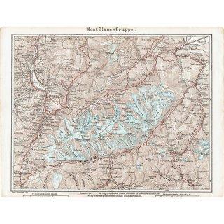スイスのアンティークマップ モンブラン周辺(ドイツ語の古地図)025