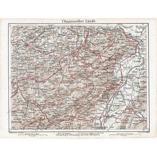 スイスのアンティークマップ ザンクト・ガレン周辺(ドイツ語の古地図)026