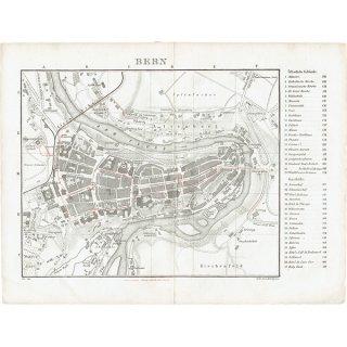 スイスのアンティークマップ ベルン市街地(ドイツ語の古地図)030