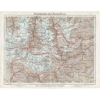スイスのアンティークマップ ゴルナーグレチャー,モンテ・ローザ周辺(ドイツ語の古地図)031