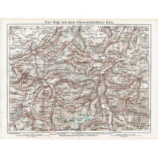 スイスのアンティークマップ フィーアヴァルトシュテッテ湖周辺(ドイツ語の古地図)033