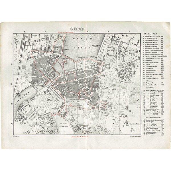 スイスのアンティークマップ ジュネーヴ市街地(ドイツ語の古地図)034