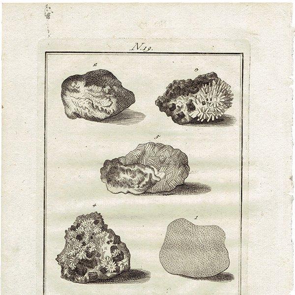 18世紀アンティークプリント 鉱物、宝石、岩、石、鉱物学 0031