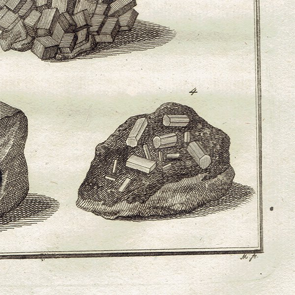 18世紀アンティークプリント 鉱物、宝石、岩、石、鉱物学 0032