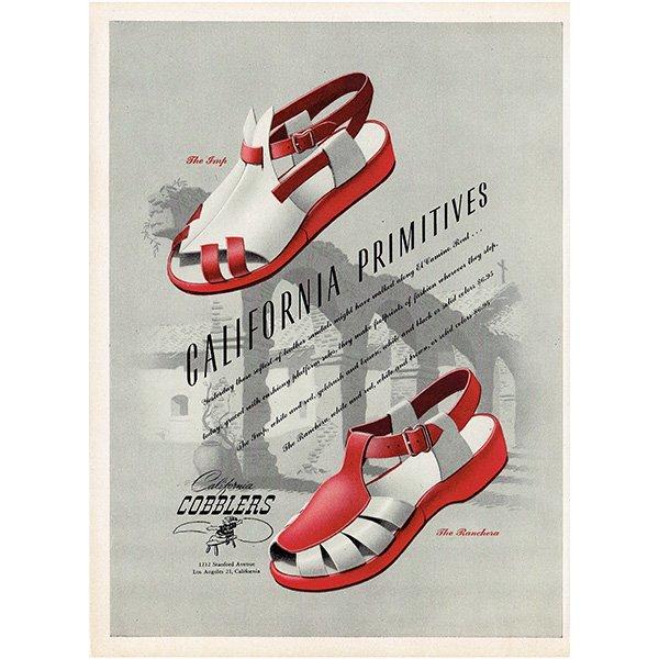 アメリカの1940年代ファッション雑誌よりCALIFORNIA COBBLERSの広告 0136<img class='new_mark_img2' src='https://img.shop-pro.jp/img/new/icons5.gif' style='border:none;display:inline;margin:0px;padding:0px;width:auto;' />