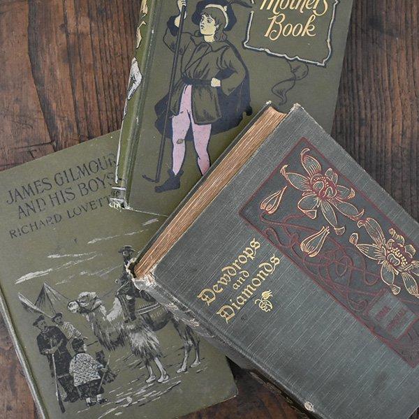 イギリス アンティークブック 古い洋書 3冊セット ディスプレイ036