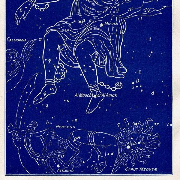 【天文学】アンドロメダ座 星座のアンティークプリント 0044