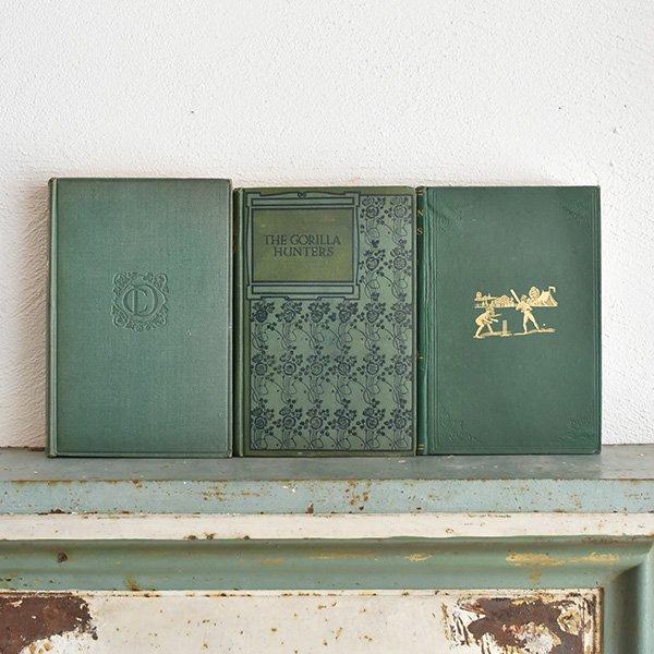 イギリス アンティークブック 古い洋書 3冊セット ディスプレイ048