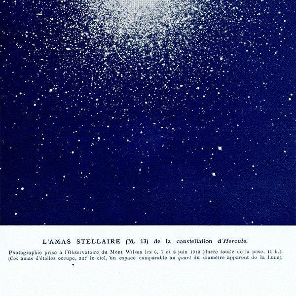 【天文学】ヘルクレス星団(M13)アンティークプリント 0046
