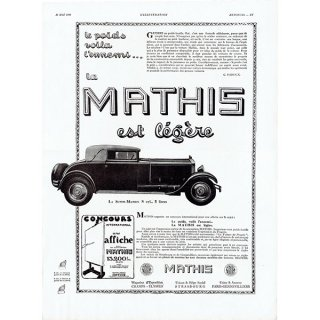 MATHIS(マティス)1930年クラシックカーのヴィンテージ広告 0043<img class='new_mark_img2' src='https://img.shop-pro.jp/img/new/icons5.gif' style='border:none;display:inline;margin:0px;padding:0px;width:auto;' />