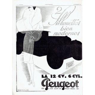 PEUGEOT(プジョー)1928年クラシックカーのヴィンテージ広告 0044