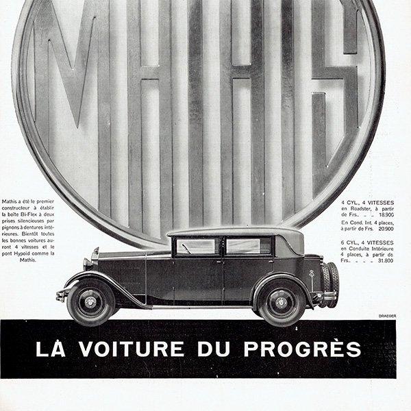 MATHIS(マティス)1929年クラシックカーのヴィンテージ広告 0048<img class='new_mark_img2' src='https://img.shop-pro.jp/img/new/icons5.gif' style='border:none;display:inline;margin:0px;padding:0px;width:auto;' />