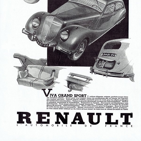 RENAULT(ルノー) 1936年のヴィンテージカー広告 0053<img class='new_mark_img2' src='https://img.shop-pro.jp/img/new/icons5.gif' style='border:none;display:inline;margin:0px;padding:0px;width:auto;' />