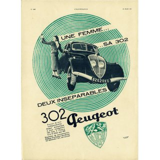Peugeot302(プジョー302)1937年 フレンチヴィンテージ広告  0061<img class='new_mark_img2' src='https://img.shop-pro.jp/img/new/icons5.gif' style='border:none;display:inline;margin:0px;padding:0px;width:auto;' />