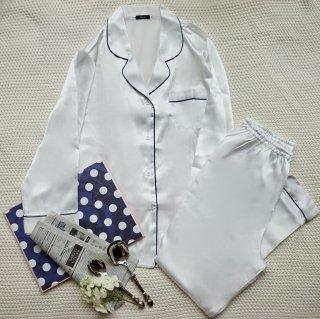 メンズロングベーシックパジャマ/ホワイト