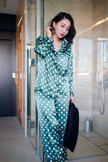 巾着付きドットロングパジャマ/グリーン
