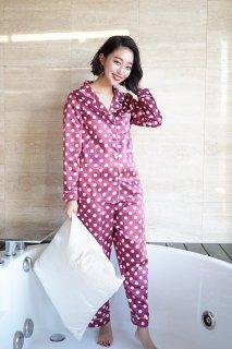 巾着付きドットロングパジャマ/レッド