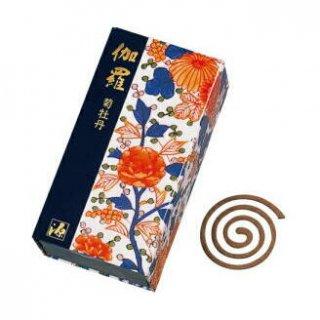 日本香堂のお香 伽羅 菊牡丹 渦巻