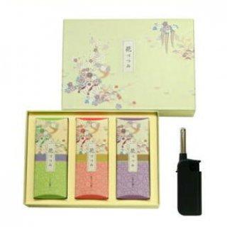 【送料無料】 日本香堂のお線香ギフト 花づつみ3種入 ライター付 化粧紙箱