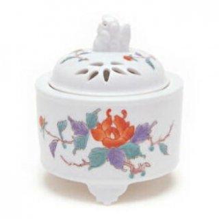 日本香堂の空薫向き香炉 錦牡丹竹絵 筒型香炉