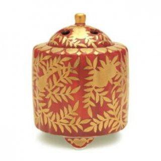 日本香堂の空薫向き香炉 錦赤地金襴桃絵 香炉