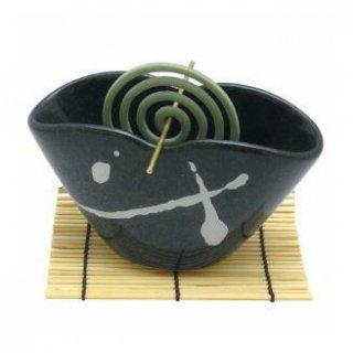 薫寿堂のうずまき用香立 波のしずく 黒